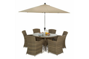 Wicker Style Rattan Exeter Round Table Dining set with 6 Carver Chairs