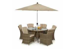 FREE Parasol with the 6 carver dining chairs and round table in brown wicker style rattan and beige cushions by Gardenbox