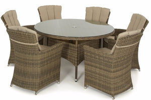 Round shaped glass top outdoor dining table and 6 carver chairs with beige cushions by Gardenbox