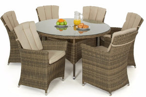 Wicker Style Rattan Exeter Round Table Dining set with 6 Carver Chairs by Gardenbox