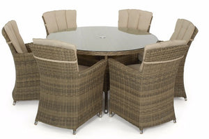 6 Carver Dining chairs, round glass topped dining table finished in Wicker style Brown Rattan by Gardenbox