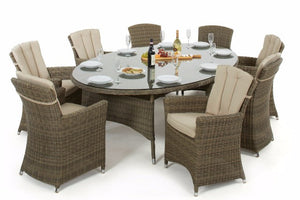 Wicker Style Rattan Exeter Oval Table Dining set with 8 Carver Chairs - Gardenbox