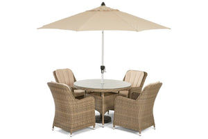 Winchester 4 Seat Round Dining Set with Venice Chairs by Maze Rattan - Gardenbox