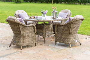 Winchester 4 Seat Round Dining Set with Rounded Chairs by Maze Rattan - Gardenbox