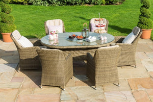Winchester 6 Seat Oval Ice Bucket Dining Set with Venice Chairs and Lazy Susan by Maze Rattan - Gardenbox