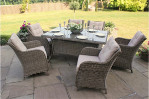 Winchester 6 Seat Rectangular Dining Set with Square Chairs by Maze Rattan - Gardenbox