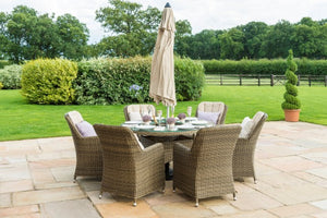 Winchester 6 Seat Round Ice Bucket Dining Set with Venice Chairs by Maze Rattan - Gardenbox