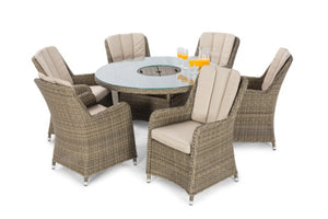 Winchester 6 Seat Round Ice Bucket Dining Set with Venice Chairs and Lazy Susan by Maze Rattan - Gardenbox
