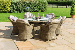 Winchester 6 Seat Round Ice Bucket Dining Set with Rounded Chairs by Maze Rattan - Gardenbox