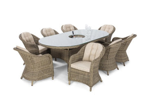 Winchester 8 Seat Oval Ice Bucket Dining Set with Rounded Chairs by Maze Rattan - Gardenbox
