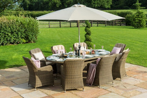Winchester 8 Seat Oval Ice Bucket Dining Set with Venice Chairs & Lazy Susan by Maze Rattan - Gardenbox