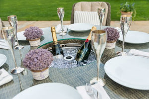 Winchester 8 Seat Round Ice Bucket Dining Set with Heritage Chairs and Lazy Susan by Maze Rattan - Gardenbox