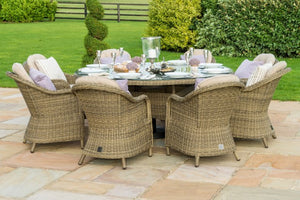 Winchester 8 Seat Round Dining Set with Rounded Chairs by Maze Rattan - Gardenbox