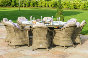 Winchester 8 Seat Round Ice Bucket Dining Set with Rounded Chairs by Maze Rattan - Gardenbox