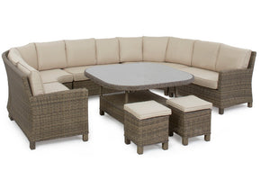 Ideal for large parties, this round shaped corner outdoor rattan dining set with glass top table from Gardenbox
