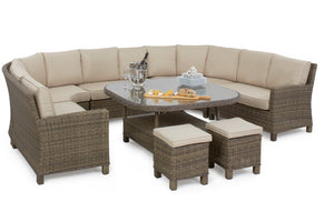 Wicker style rattan round corner dining set with seating for 12 adults