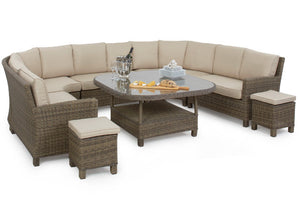 Round shaped corner outdoor dining set with beige cushions and footstools