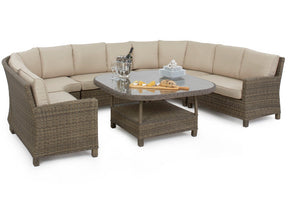 Round corner dining set with round shaped dining set and beige cushions by Gardenbox