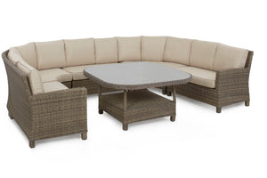 With seating for 12 this outdoor round corner dining set with beige cushions is a brilliant buy
