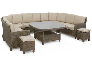 Brown wicker style rattan large family dining set with beige cushions and footstools by Gardenbox