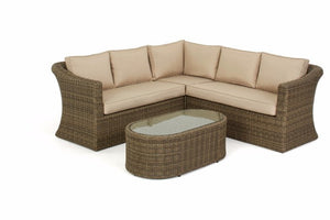 Seating for up to 5 adults in luxury on the Wicker style rattan small corner sofa set by Gardenbox