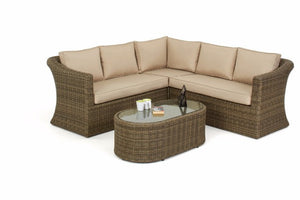Wicker Style Rattan Exeter Small Corner Sofa Set by Gardenbox