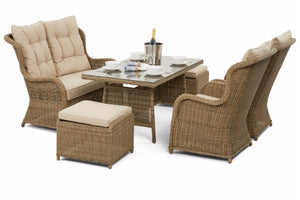 Wicker style Exeter Rattan Weave High Backed Dining set