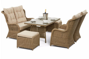 Includes two foot stools on the High Backed Exeter Dining Set