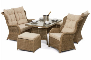 Put your feel up with the included two footstools on the Exeter Wicker style Rattan dining set