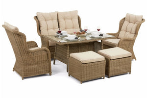 Wicker style rattan weave wrapped around the aluminium frame of the Exeter range from Gardenbox