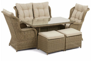 Beige cushions on the Exeter High Back Dining Sofa set