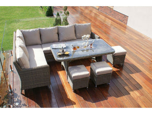 Exeter Corner Dining Sofa set with Ice Bucket by Gardenbox