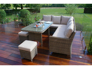 Two sofas, a rectangular table and 3 footstools with the Gardenbox Wicker Style Rattan Exeter Corner Dining Set