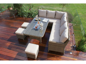 Ice built in the centre of the rectangular dining set of the Gardenbox Exeter Wicker style Rattan Corner Dining Sofa set