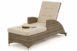 Wicker style rattan Exeter reclining sun lounger by Gardenbox