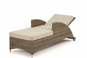 Wicker style brown rattan reclining garden sun lounger with beige cushions