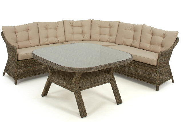 Wicker style brown rattan exeter round corner dining set gardenbox outdoor dining set for 6 adults with rounded corner sofa and dining table watchthetrailerfo
