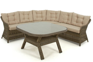 Outdoor dining set for 6 adults with rounded corner sofa and dining table