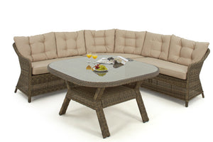 Brown Wicker style rattan rounded corner sofa and dining table