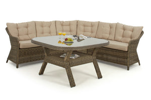 Brown Wicker style rattan rounded corner sofa and round dining table with glass top
