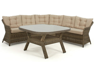 Brown Wicker style rattan rounded corner sofa with beige cushions and dining table by Gardenbox