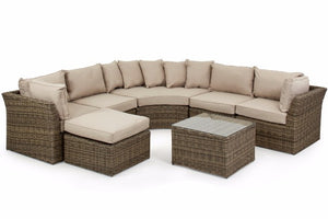 Heavyweight beige cushions and wicker style rattan in the Exeter Round Corner Sofa set from Gardenbox