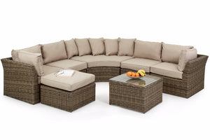 Wicker style Rattan Exeter Round Corner Sofa set by Gardenbox