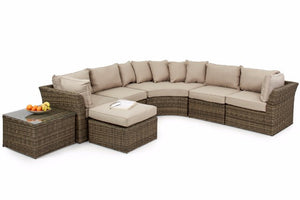 Flexible Round Corner Garden Furniture set with beige cushions