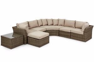 Wicker style Rattan Round Corner sofa set with Beige Cushions