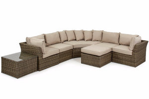 Wicker style Exeter Rattan Weave with beige cushions and square shaped glass topped coffee table
