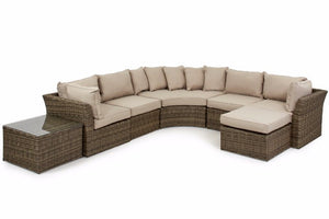 Wicker style Exeter Rattan Weave with beige cushions and square shaped coffee table with glass top