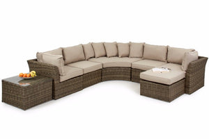 Move the footstool to suit your best layout from this Round Corner sofa set
