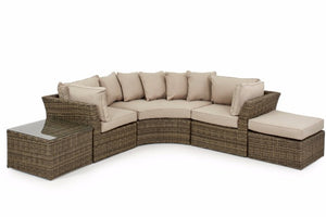 Round Corner sofa set with beige cushions in wicker style rattan with square coffee table