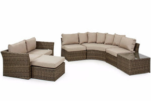 Round Corner sofa set with beige cushions in wicker style rattan by Gardenbox